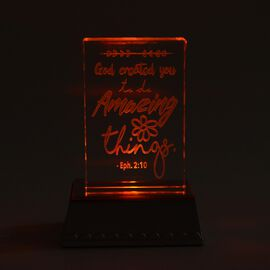 God Created You To Do Amazing Things (Eph 2:10) Color Changing LED Crystal Desk Decor (3AAA Batterie