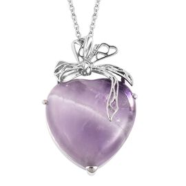 Amethyst Bowknot Heart Pendant with Chain (Size 24) in Stainless Steel 50.00 Ct.