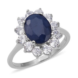 Kanchanaburi Blue Sapphire (Ovl 3.37 Ct),Natural Cambodian White Zircon Ring in Rhodium Overlay Ster