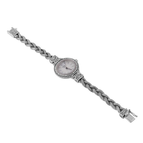 DOD - Royal Bali Collection - EON 1962 Swiss Movement Water Resistant Bracelet Watch (Size 6.75) in Sterling Silver, Silver wt 64 Gms