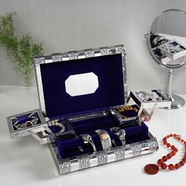 3D Embossed Collection Handcrafted Flower Oxidised Jewellery Box (Size 27.5x19 Cm) with Mirror and B