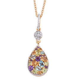 GP Amethyst (Rnd), Swiss Blue Topaz and Multi Gemstone Pendant with Chain in 14K Gold Overlay Sterli
