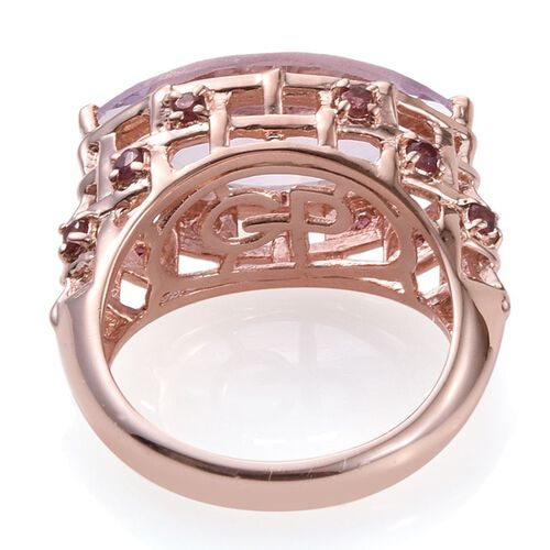 GP Rose De France Amethyst (Mrq 6.50 Ct), Rhodolite Garnet and Kanchanaburi Blue Sapphire Ring in Rose Gold Overlay Sterling Silver 7.000 Ct.