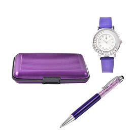 3 Piece Set - STRADA Japanese Movement Crystal Studded Water Resistant Watch with Purple Strap, Card