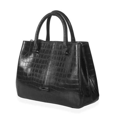 Close Out Deal Premium100%  Genuine Leather Croc Embossed Black Colour Large Tote Bag (Size 32x25 Cm)