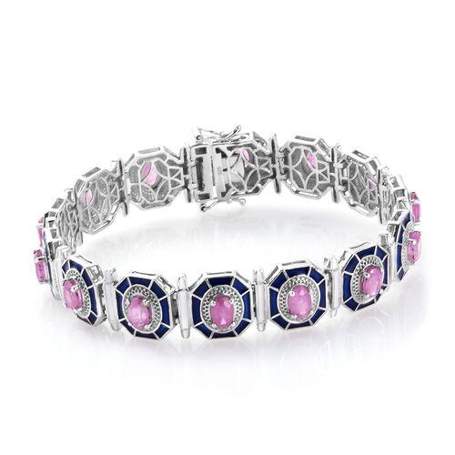 Madagascar Hot Pink Sapphire Enamelled Bracelet (Size 7.5) in Platinum Overlay Sterling Silver 9.00