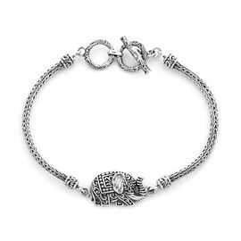 Royal Bali Collection - Sterling Silver Tulang Naga Elephant Toggle Bar Bracelet (Size 7.5 with Exte