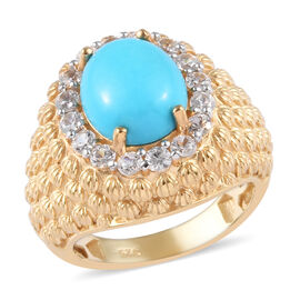 Sleeping Beauty Turquoise and Zircon Halo Ring in Gold Plated Sterling Silver,3.80 Ct
