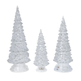 3 Piece Set White Colour Crystal Tree with Colour Changing LED Lights