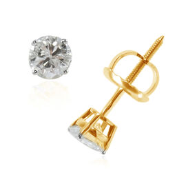 NY Close Out 14K Yellow Gold Diamond (Rnd) (I1-I2/ G-H) Stud Earrings (with Screw Back) 0.50 Ct.