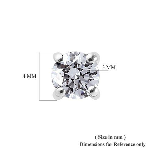 9K White Gold SGL Certified Diamond (I3/G-H) Stud Earrings (with Push Back) 0.20 Ct.
