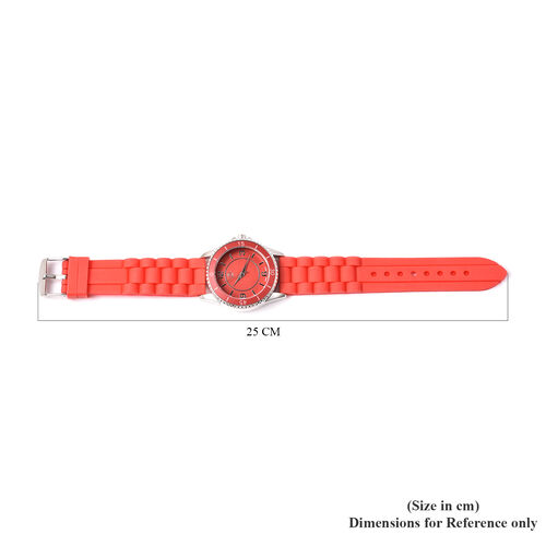 Set of 3 - STRADA Japanese Movement Watches - Red, Black and Purple