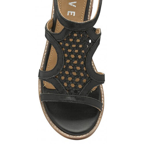 Ravel Cardwell Leather Wedge Sandals (Size 5) - Black
