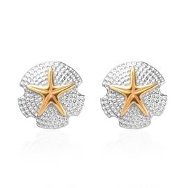 Platinum and Yellow Gold Overlay Sterling Silver Starfish Stud Earrings (with Push Back)