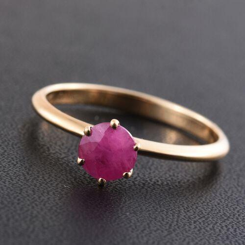 ILIANA 18K Yellow Gold AAA Burmese Ruby (Rnd) Solitaire Ring 1.000 Ct.