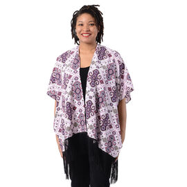 Printed Kimono with Tassel in Purple (Size 90x70+15cm)