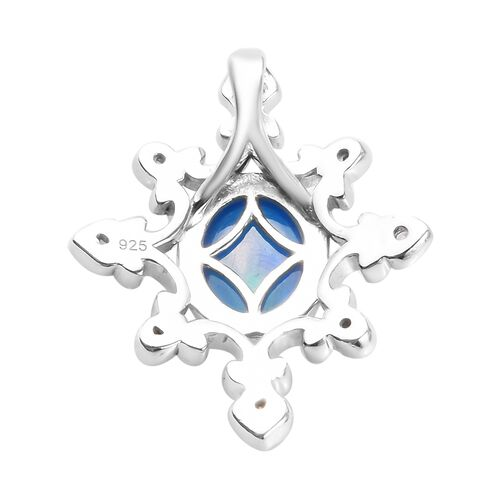 Miami Blue Welo Opal and Natural Cambodian Zircon Pendant  in Platinum Overlay Sterling Silver 1.25 Ct.