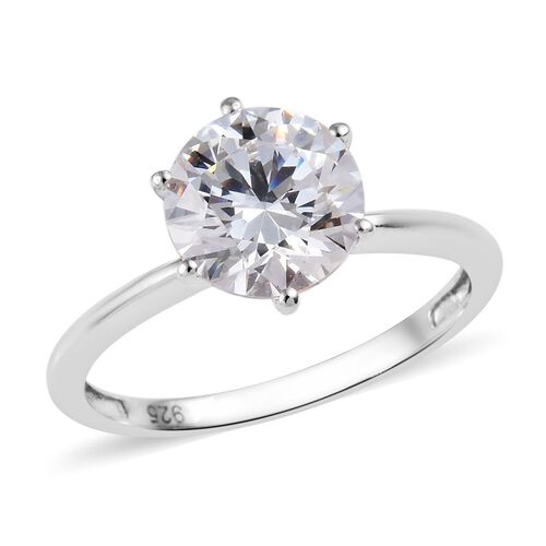 J Francis - Platinum Overlay Sterling Silver (Rnd) Solitaire Ring Made with SWAROVSKI ZIRCONIA 3.30