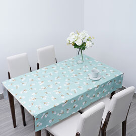 100% Waterproof PVC Table Cloth with Blossom Floral Pattern (Size 200x137cm) - Pastel Green & White