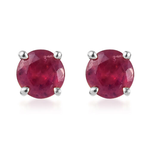 9K White Gold Ruby Stud Earrings (with Push Back) 0.75 Ct