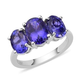RHAPSODY 3.25 Ct AAAA Tanzanite 3 Stone Ring in 950 Platinum 4.43 Grams