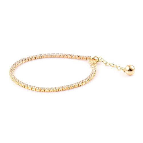 ELANZA AAA Simulated White Diamond Tennis Bracelet (Size 6.5 with 1 inch Extender) in Yellow Gold Overlay Sterling Silver