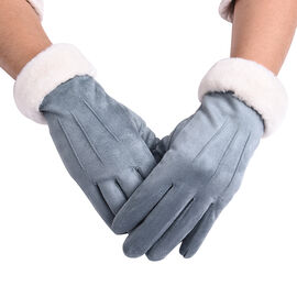 Solid Blue Gloves with Embossed Lines and Off-white Faux Fur Trim (Size XS-M)