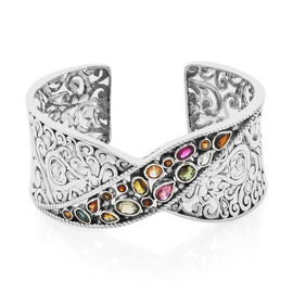 Bali Legacy Collection Multi-Tourmaline Cuff Bangle (Size 7.5) in Sterling Silver 6.90 Ct, Silver wt