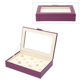 Portable Aniti Tarnish Lining Jewellery Box with Glass Window (Size:26.7x17.8x5.5Cm) - Lavender