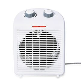 1000W/2000W Electric Fan Heater with 2 Heat and 1 Cold Speed Setting (Size 25x19x13 Cm) - White