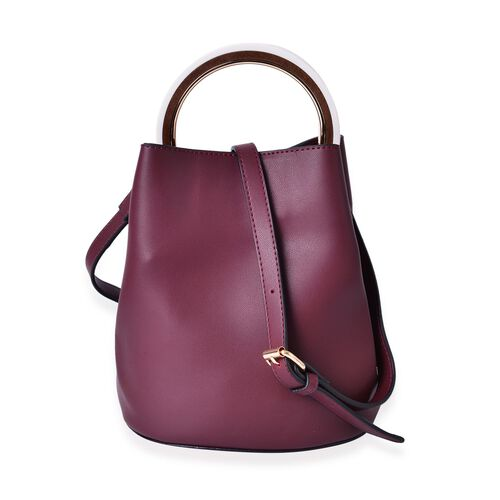 Set of 2 - Burgundy Colour Large Handbag (Size 25X23X19.5 Cm) and Small Handbag (Size 19.5X17X9.5 Cm) with Adjustable and Removable Shoulder Strap