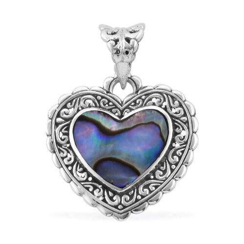 Royal Bali Abalone Shell Heart Pendant in Sterling Silver