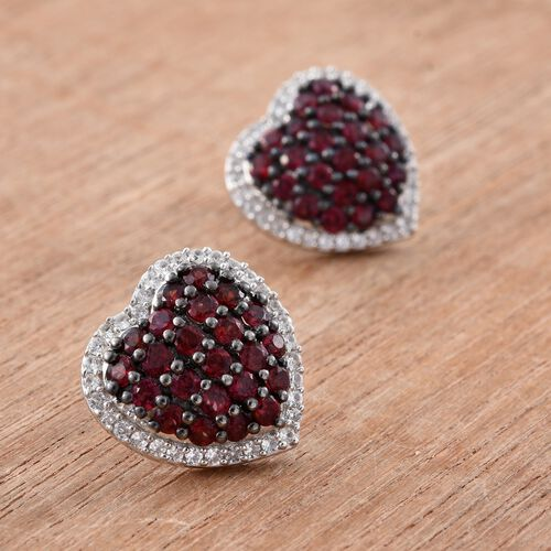 Arizona Anthill Garnet (Rnd), Natural Cambodian Zircon Heart Stud Earrings (with Push Back) in Platinum Overlay Sterling Silver 3.250 Ct.