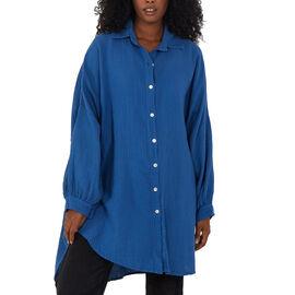 Nova of London Women Oversized Cheese Cloth Shirt (One Size) - Blue