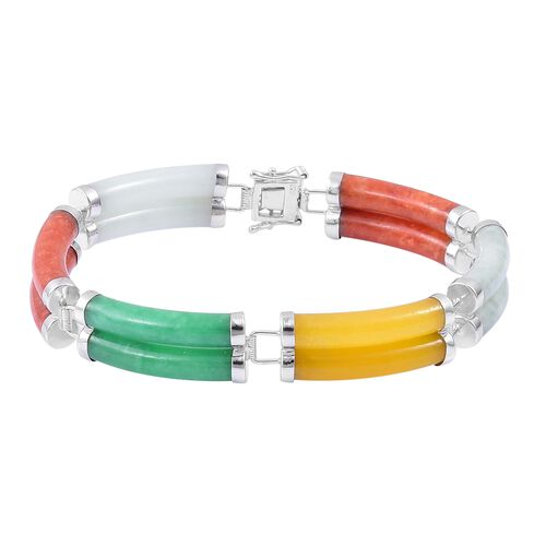 Designer Inspired-Multi Colour Jade Bracelet (Size 7.5) in Rhodium Plated Sterling Silver 90.000 Ct.