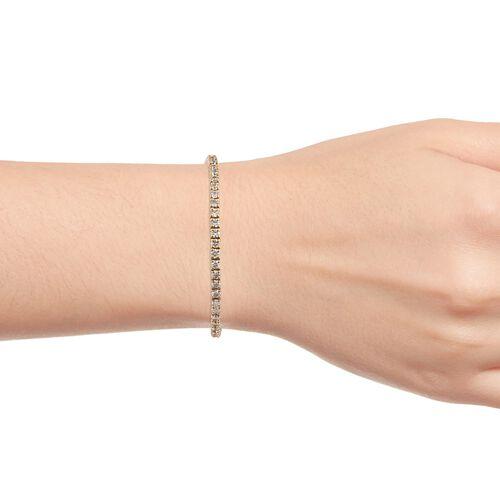 J Francis- 14K Gold Overlay Sterling Silver (Rnd) Bracelet (Size 7.5) Made with SWAROVSKI ZIRCONIA, Silver wt 10.50 Gms.