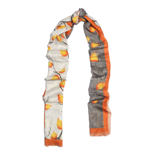 One Time Deal- 100% Modal Grey and Multi Colour Leaf and Twig Digital Printed Scarf (Size 200x70 Cm)