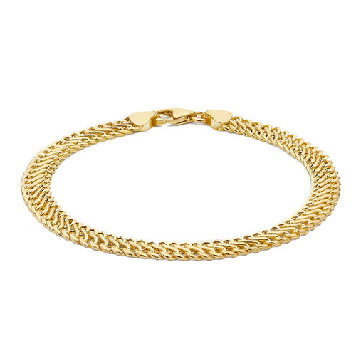 Close Out Deal - 9K Yellow Gold Fancy Curb Bracelet (Size 7.5) with Lobster Clasp, Gold wt 3.40 Gms