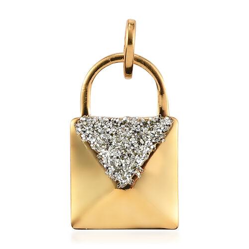 Designer Inspired- 14K Gold Overlay Sterling Silver Lock Design Pendant