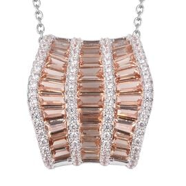 Simulated Champagne Diamond and Simulated Diamond Wave Design Pendant With Chain in Stainless Steel