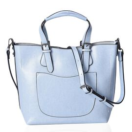 100% Genuine Leather Blue Colour Tote Bag (Size 32x25x12.5x24 Cm) with Detachable Shoulder Strap