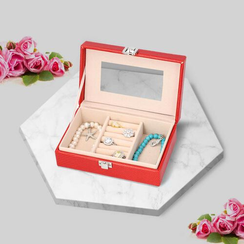 Grace Collection - Lizard Skin Pattern Rectangular Shaped  Anti-Tarnish Jewellery Box with Inside Mi
