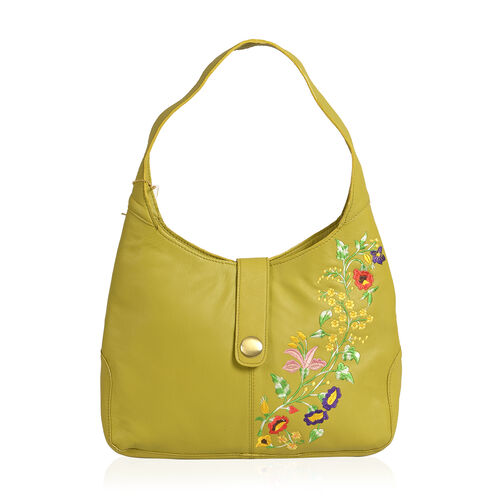 Premium Collection 100% Genuine Leather Mustard Green Floral Embroidered RFID Blocker Bag (Size 35x25x8 Cm)