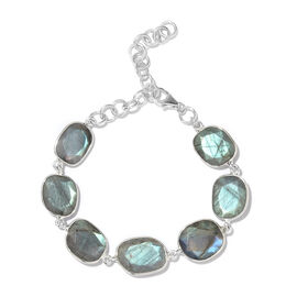 One Time Deal - Pauls Island AAA Schiller Labradorite Sterling Silver Bracelet (Size 8 with Extender) 40.00 Cts