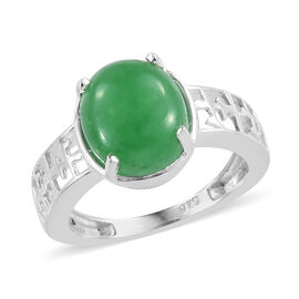 Green Jade (Ovl) Ring in Sterling Silver  3.750 Ct.