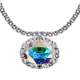 J Francis Swarovski AB Crystal Cluster Necklace in Platinum Plated Silver 32.93 Grams 18 Inch