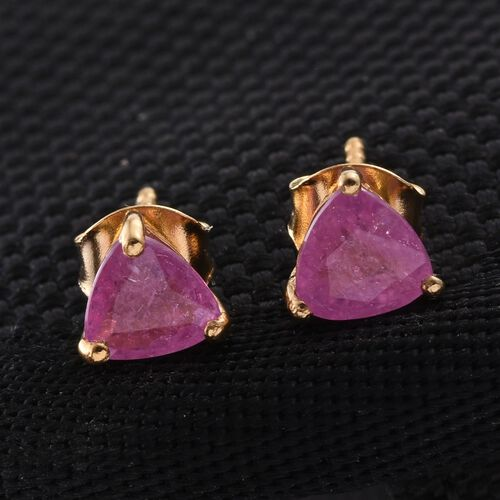 Pink Sapphire (Trl) Stud Earrings (with Push Back) in 14K Gold Overlay Sterling Silver 2.250 Ct.