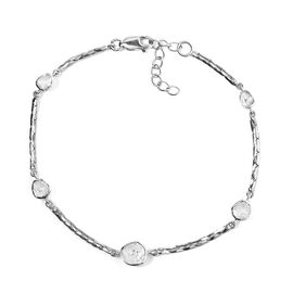 Polki Diamond Station Bracelet (Size 7.5 with 1 inch Extender) in Sterling Silver 1.00 Ct, Silver Wt