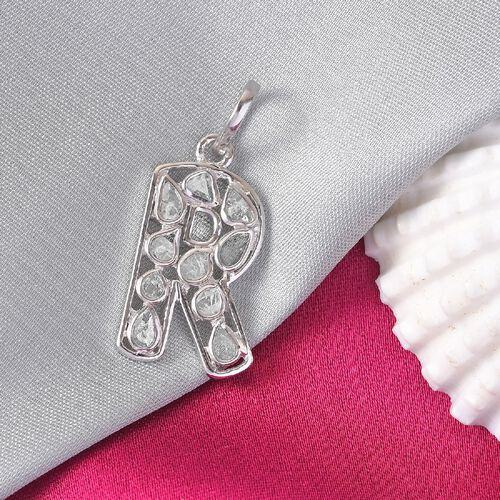 Artisan Crafted Polki Diamond Initial R Pendant in Platinum Overlay Sterling Silver 0.50 Ct.