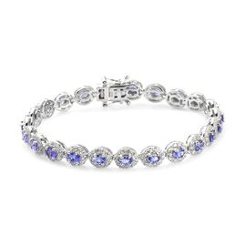 AAA Tanzanite and Natural Cambodian Zircon Tennis Bracelet (Size 7) in Platinum Overlay Sterling Sil